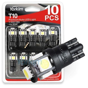 Yorkim T10 194 LED Bulbs 6500K Non Polarity 6th Generation for Car Interior Lights